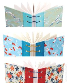 Handmade Japanese Paper Journals from Ruth Bleakley Coptic stitch lays flat for easy writing