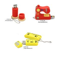Oh my goodness! These are just too cute 2 GB Sewing Themed USB drives in the shapes of: a spool of thread, a sewing machine, and a tape measure! - Sewing & Craft Club