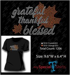 Grateful Thankful Blessed Rhinestone Design MST