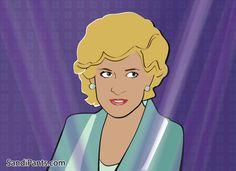 Caricature/ Illustration of Lady Diana - Princess Di - created by Sandi Fender in Adobe Illustrator - www.SandiPants.com