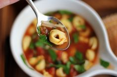 Tortellini, Basil, and Fire Roasted Tomato Soup // Inquiring Chef