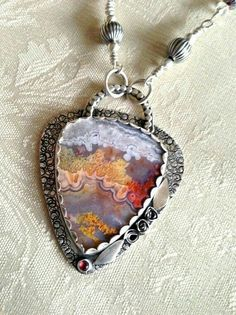 Silver goes great with those colors, especially the pale blue/gray. Colorful Crazy Lace artisan fine silver by CrawfordCreekDesigns Metal Clay Jewelry, Stone Jewelry, Pendant Jewelry, Jewelry Art, Jewelry Design, Jewelry Shop, Jewelry Drawing, Sterling Silver Jewelry, Silver Ring