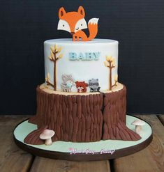 Themes Baby Shower:Woodland Creatures Party Supplies Together With Woodland Animals Baby Shower Cake As Well As Woodland Baby Shower Sheet Cake Also Woodland Baby Shower Cake Woodland Animals Baby Shower Cake Dessert Party, Baby Girl Shower Themes, Baby Boy Shower, Comida Para Baby Shower, Fox Cake, Woodland Cake, Woodland Party, Woodland Forest, Baby Shower Cookies