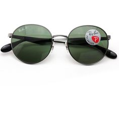 Ray-Ban Sunglasses Polarized 3537 Round Gunmetal Frame with Green Classic  Lenses  RayBan   20d11465494b