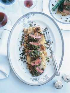 Pistachio and lemon crusted spring lamb served with celeriac gratin for the main course.