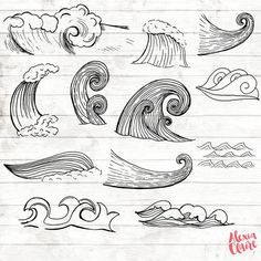 Waves Clipart - Hand Drawn Waves Clipart - Vector Planner Art - Digital Paper - Planner Clip Art - Waves Wall Art - ACGABW69