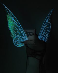 Large Tink wings with glowing veins, view 1 by FaeryAzarelle.deviantart.com on @deviantART