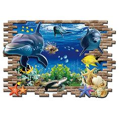 Kaimao Wall Decal 3d Mural a Corner of Sea World Removable Wall Stickers for Wall and Ceiling Home Decor *** Learn more by visiting the image link.