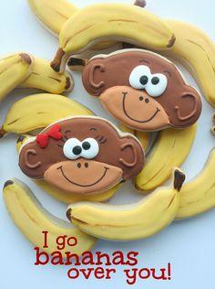 """I'm bananas for you!"" Monkey and Banana Cookies"