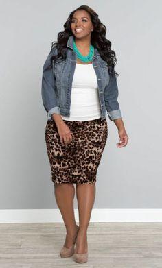 mollige damen mode rock jeansjacke accessoires