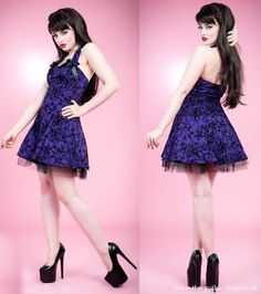 Purple Flocked Halter Mini Dress by Hearts & Roses