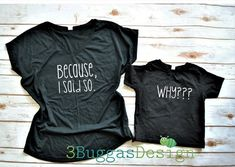 Because I said so/mommy and me outfit/momma bear shirt set/mother daughter matching/funny matching/mom life tshirt/mother son matching by on Etsy Source by outfits Mom And Daughter Matching, Daddy And Son, Mommy And Me Shirt, Daddy Daughter, Mom And Son Outfits, Family Outfits, Matching Shirts, Matching Outfits, Family Shirts