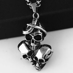 Silver Skull Gothic Necklace Polished -with 23 inch Chain Goth Lady Silver Pendant Necklace, Jewerly, Gothic, Cufflinks, Skull, Necklaces, Money, Chain, Lady