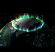 An amazing northern lights photo from space showing the ring around the earth where the aurora is most prominent.