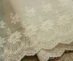 Antique Cotton Organdy Sheer Whitework Lace Trim 45x7 French Doll Dress Flapper | eBay