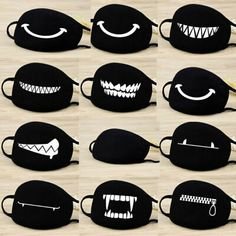 Buy Women Trendy Cotton Face Masks Pattern Solid Black Mask Fashion Cute Half Face Mouth Muffle for Winter Autumn at Wish - Shopping Made Fun Funny Faces, Cartoon Faces, Cartoon Expression, Bear Mask, Funny Face Mask, Face Masks, Half Face Mask, Mask Party, Cute Bears