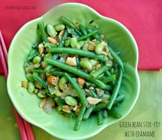 Enjoy this fresh Green Bean Stir Fry with Edamame as a side dish or a light entree! So much flavor and crunch and quick and easy as can be!
