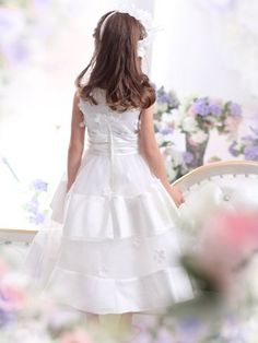 Amazon.com: Landybridal 2013 New Style Cute A Line Tank Top Floor Length Tulle Ivory First Communion Dress G12004: Clothing