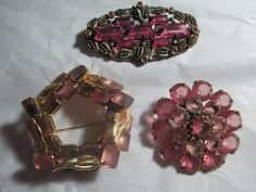 OBO Lot of Three Gorgous Art Deco Antique Pins Broochs Crystal & Glass Brass Beaded Metal