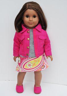 American Girl Clothes  Hot Pink Denim by LoriLizGirlsandDolls, $36.00