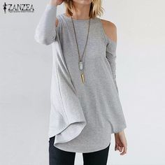 Pin ZANZEA Women Elegant Blusas Tops 2016 Autumn Ladies Sexy Tunic Off Shoulder Long Sleeve Pullover Casual Loose Blouse Shirts to one of your boards if you like it !