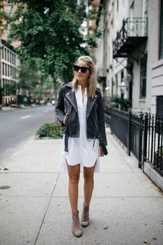white dress, moto jacket and suede booties