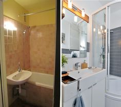 before - after bathroom Bathroom Toilets, Small Bathroom, Bathroom Furniture, Furniture Decor, Bath Design, Home Staging, Corner Bathtub, Apartment Therapy, Sweet Home