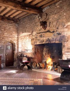 Medieval Bedroom, Medieval Home Decor, Medieval Houses, Rumford Fireplace, Fireplace Hearth, Fireplaces, Outdoor Cooking Area, Discount Bedroom Furniture, Bedroom Fireplace