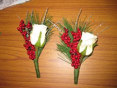 Home made boutonnières and corsages December wedding