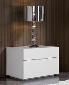 Lea, Modern Bedside Cabinet in White High Gloss