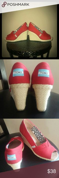 Toms cherry red wedges 5.5 Beautiful cherry red Toms wedges 5.5, wore 2 times, great condition. Thanks for looking! :) Toms Shoes Wedges