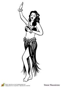 Une danseuse de Hula à colorier Surf Drawing, Dancer Drawing, Hula Girl Tattoos, Cosmos Logo, Dancer Tattoo, Navy Tattoos, Shin Tattoo, Beach Icon, Retro Graphic Design