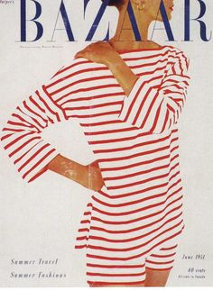 Red stripes on the cover of Harper's Bazaar