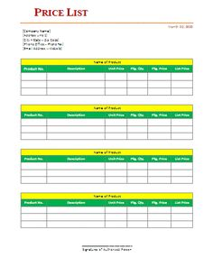 Price List Templates Job Sheet Templates  14 Free Printable Word Excel & Pdf .
