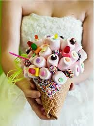 Candy bouquet of marshmallows and candy in cone.My kind of bouquet ; Bouquet Bride, Ribbon Bouquet, Candy Bouquet, Wedding Bouquets, Bouquet Toss, Boquet, Wedding Gowns, Alternative Bouquet, Alternative Wedding