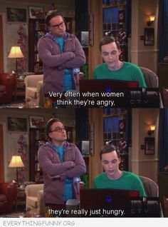 funny big bang theory screen cap girls angry just hungry