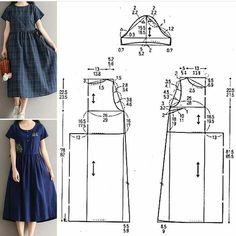 ШИТЬЁ Lista com dicas e tutorias de: Japanese Sewing Patterns, Dress Sewing Patterns, Sewing Patterns Free, Clothing Patterns, Pattern Dress, Costura Fashion, Sewing Blouses, Fashion Sewing, Pattern Fashion