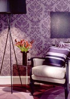 purple papel parede damask living feng bedroom violeta sala rumah walls warna decoration shui decorar hijau dalaman arquidicas hiasan decoraciones