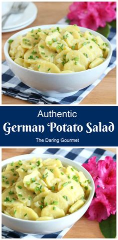 Austrian Potato Salad, Authentic German Potato Salad, Veggie Side Dishes, Food Dishes, Potato Dishes, Potato Recipes, Veggie Food, Bratwurst, German Potatoes