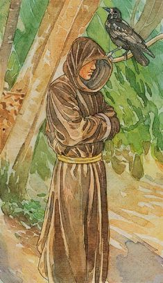 """IX. The Hermit"", from The Sorcerers Tarot. This is the meaning of my last name."