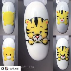 Cartoon Nail Designs, Animal Nail Designs, Animal Nail Art, Nail Art Designs, Nail Art Blog, Gel Nail Art, Nail Manicure, Nail Swag, Hello Nails