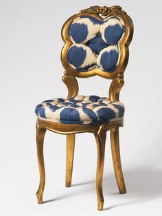Blue Mu Ikat 19th Centruy French Chair by Madeline Weinrib