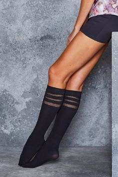 Sporty Stripes Knee Highs ($20AUD) by BlackMilk Clothing