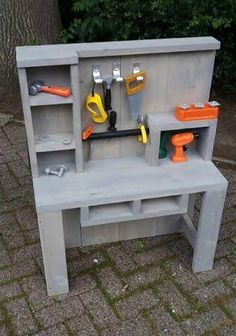 Kids workbench Kids tool bench Kids playroom Kids furniture Diy for kids Kids bedroom - Workbench for children to build themselves l Great gift l Bright children's eyes l Peyton's little work ben - Small Workbench, Kids Workbench, Woodworking Workbench, Woodworking Crafts, Garage Workbench, Industrial Workbench, Workbench Designs, Woodworking Logo, Kids Tool Bench