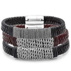 Men's Leather Bracelet with Cuban Rope  $15.00 Our Price