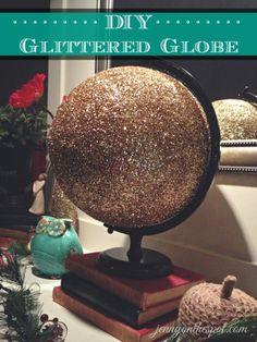 DIY Glitter Globe Using Thrift Finds via @Jenny On The Spot