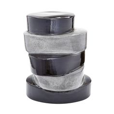 Stacked Ovals Side Table In Black And Grey - 857105