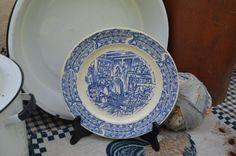 Colonial Decor Blue Display Plate Universal Pottery Cambridge Ohio  Camwood Ivory Mid Century  Kitchen Decor