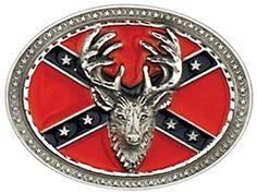 Western Express Confederate Flag w/ Deer Belt Buckle