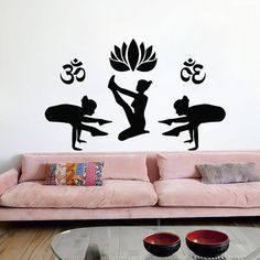 Yoga Wall Decal Lotus Flowers Art Gymnast Sticker Vinyl Decals Gym Namaste Home Decor Interior Design Murals MN1002 Sports Decals, Yoga Studio Decor, Flower Art, Wall Decals, Trending Outfits, Unique Jewelry, Handmade Gifts, Vintage, Etsy